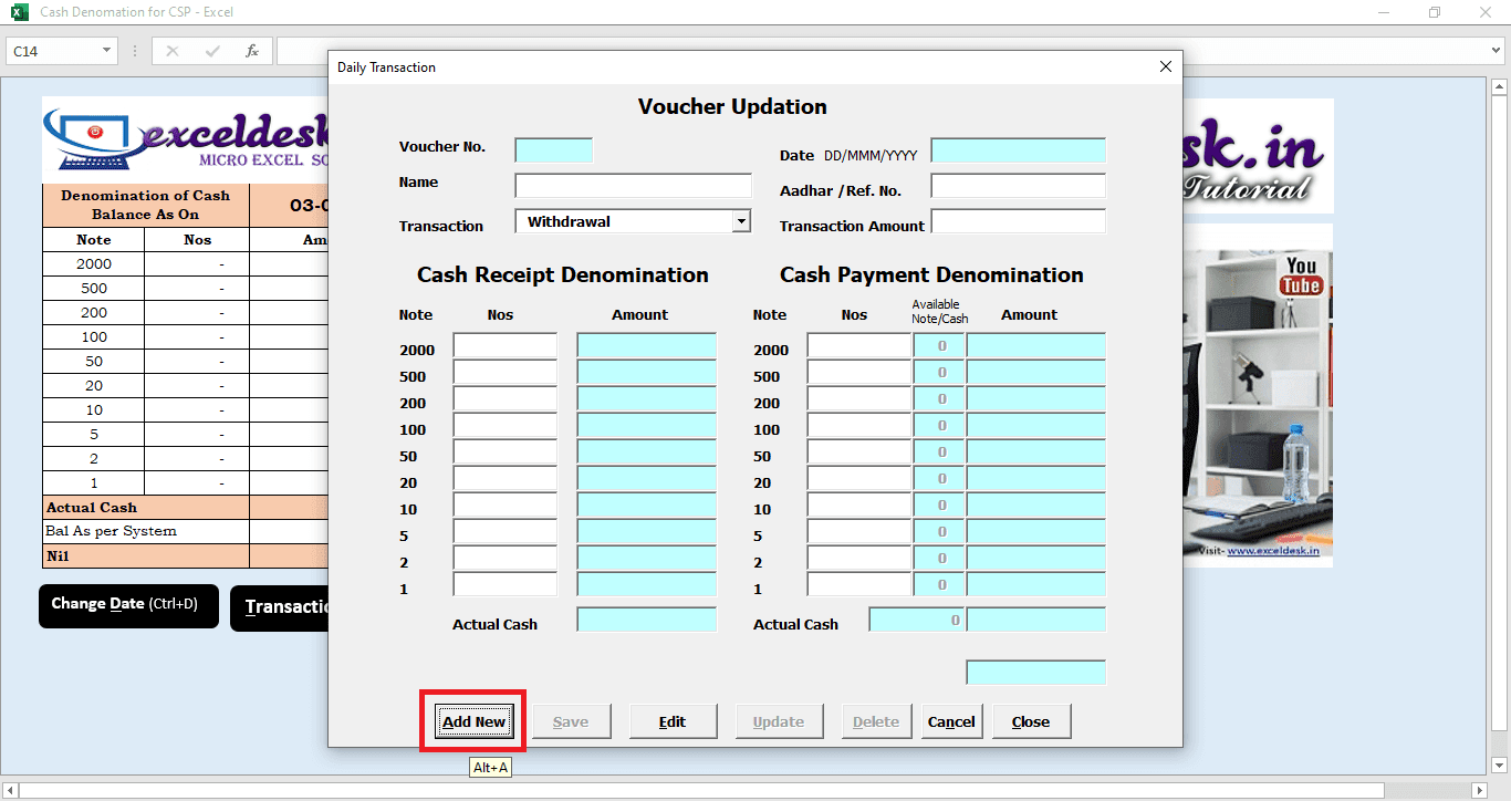 Cash Denomination for Customer Service Point CSP | Mini bank Management Application in Excel VBA