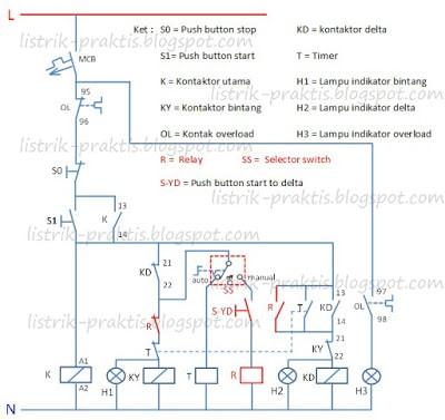 Rangkaian star delta dengan switch manual auto pada motor 3 fasa diagram kontrol pengasutan star delta man auto ccuart Choice Image