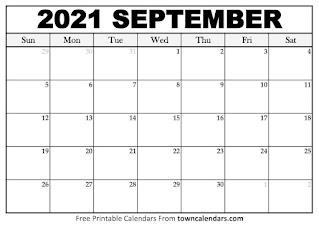 Free Printable Calendar September 2021
