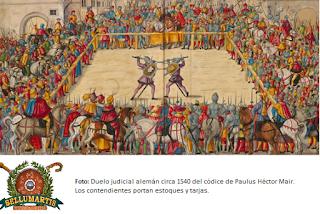 EL DUELO JUDICIAL Y LOS CARTELES DE DESAFÍO: PANOPLIA Y TÉCNICAS DE LOS SIGLOS XIV, XV Y XVI