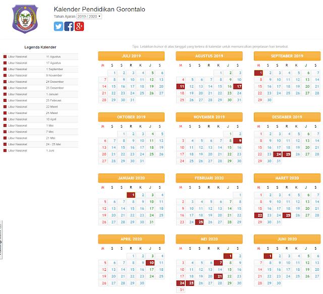 kalender pendidikan provinsi gorontalo 2019/2020