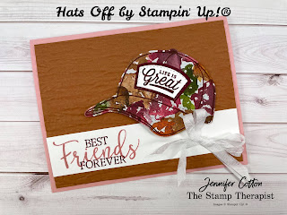 This feminine best friends card uses Stampin' Up!'s Hats Off Bundle along with the Beauty of the Earth designer paper, Bark embossing folder, and Create with Friends stamp set.  #StampinUp #StampTherapist #HatsOff