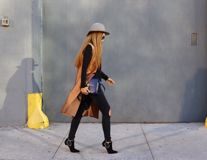 CMEO COllective classic act vest, hat attack wool hat, prada retro sunglasses, celine classic box bag, free people turtleneck top, unif ripped jeans, casadei ankle booties, chanel earrings, street style, nyc blogger, how to, fashion blog, fall fashion, shopbop friends and family sale