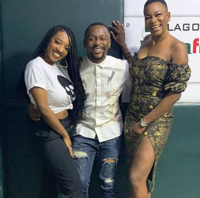 Ushbebe and Dat Warri Girl pictured with Former Big Brother Naija Housemates, Avala & Isilomo during their tour in Lagos.