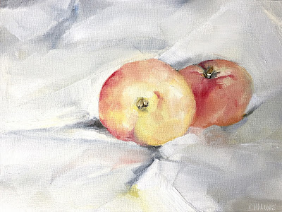 """Peaches"" Original oil painting on panel by Philine van der Vegte"