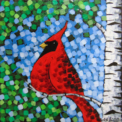 Sing A Song Numbers 1 & 2 painting by artist aaron kloss, pointillism, sivertson gallery, painting of a cardinal
