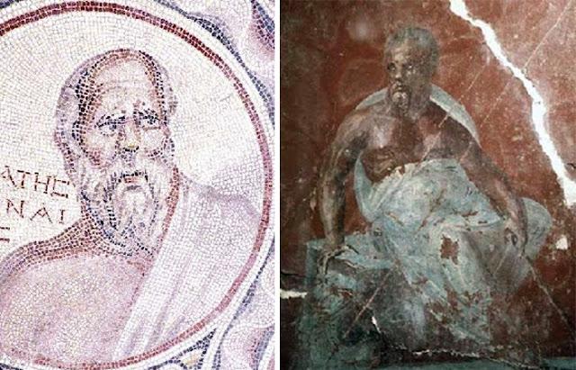 Mosaico de Sócrates entre os sete reis magos