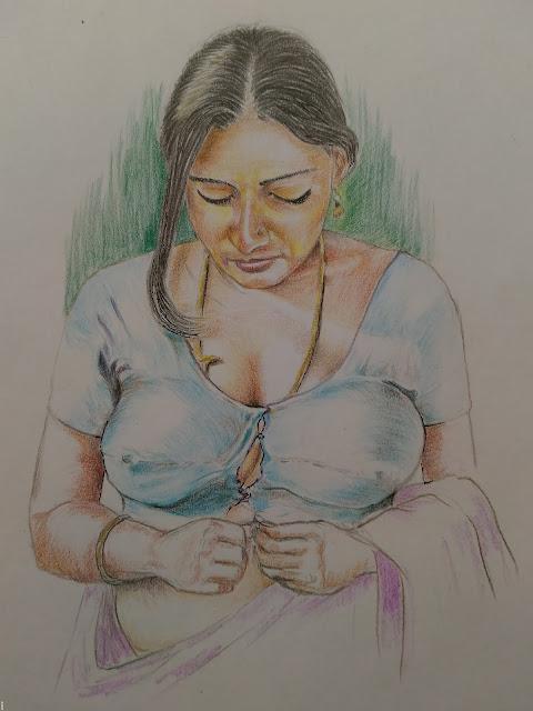 Colour Pencil sketch study woman