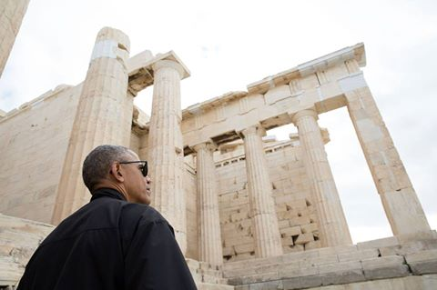 President Obama speaking in Athens, Greece, the birthplace of democracy.