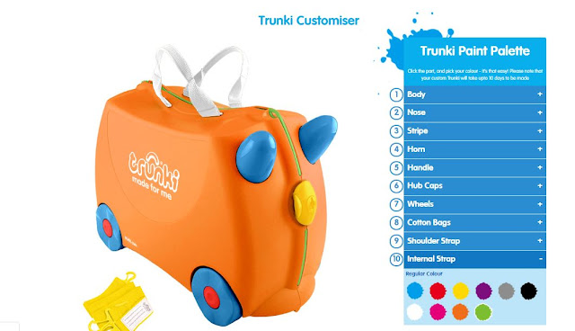 Designing your own coloured Trunki with the Trunki Customiser