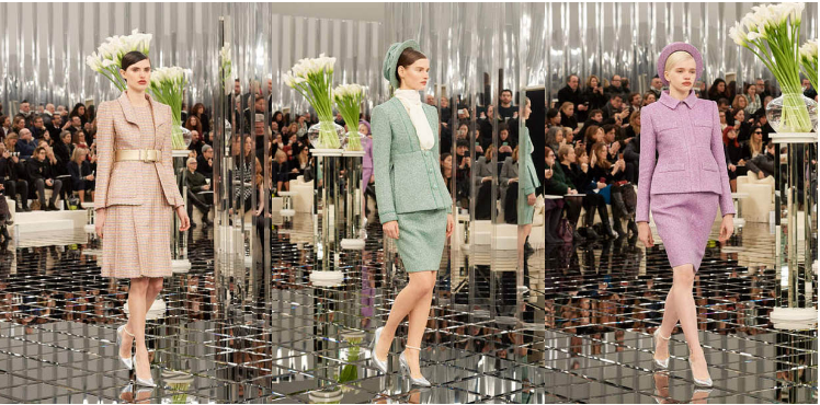 chanel-spring-summer-2017-couture-collection (7)-beige-dress-metallic-belt-green-dress-outfit-hat-purple-hat-pencil-skirt