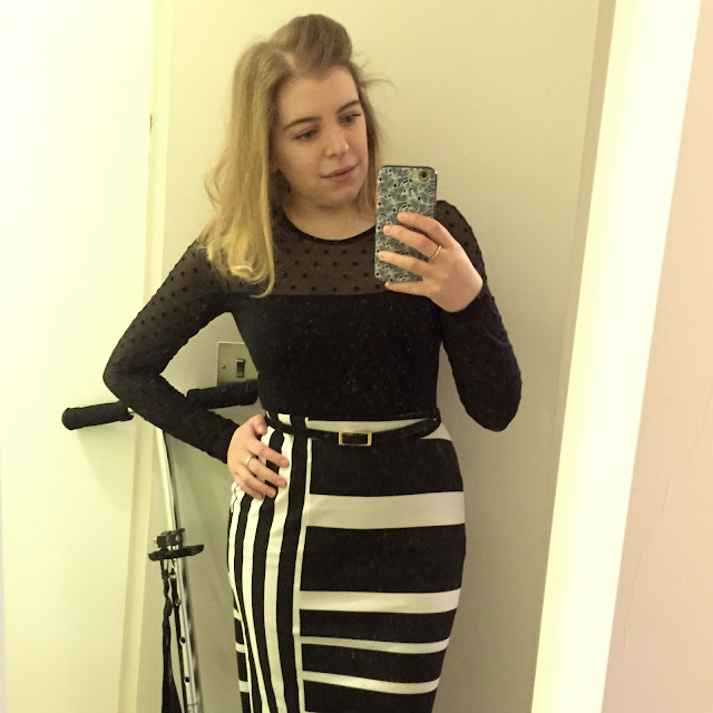m&s striped pencil skirt