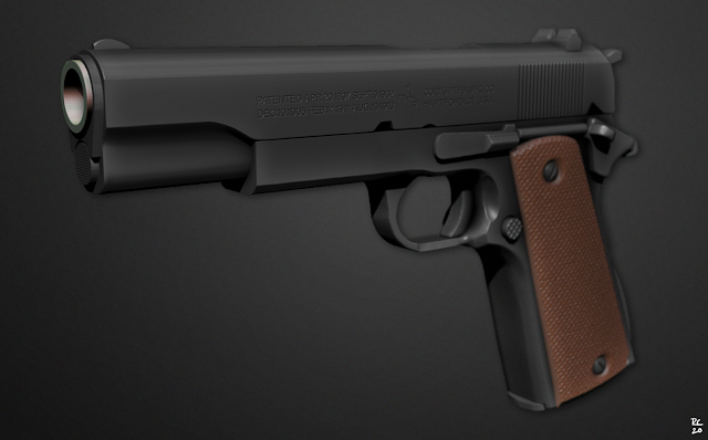 colt pistol sculpt zbrush combobomb