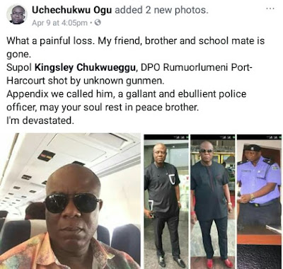 Photos: DPO in Rivers State hacked with cutlass and shot dead by unknown gunmen in police uniform