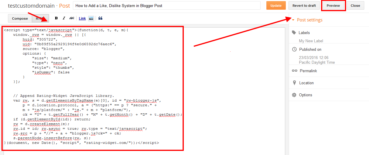 How to Add a Like, Dislike System in Blogger Post