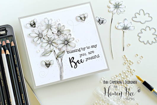 Bibi Cameron Papercraft  Designer: Black and White Card with Busy Bees Stamp Set and Dies