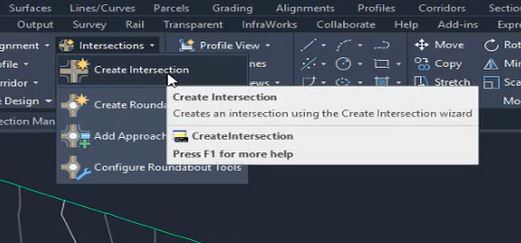 Create intersection tool in Autodesk Civil 3D