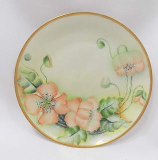 Bavarian china plate peach poppies Gold Rim