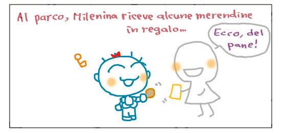 Al parco, Milenina riceve alcune merendine in regalo... Ecco, del pane!