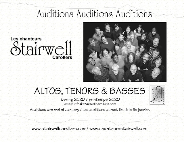 Ottawa choir the Stairwell Carollers 2020 Spring Auditions for alto tenor and bass
