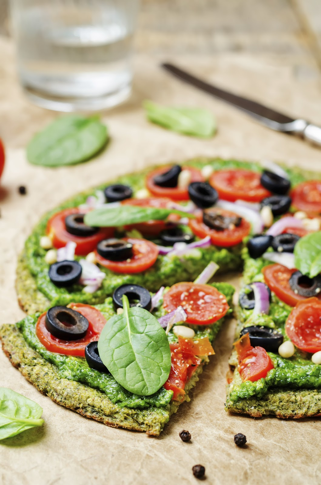Quinoa Pizza Crust with Homemade Vegan Pesto