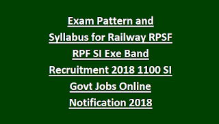 Exam Pattern and Syllabus for Railway RPSF RPF SI Exe Band Recruitment 2018 1100 SI Govt Jobs Online Notification 2018 Physical Tests