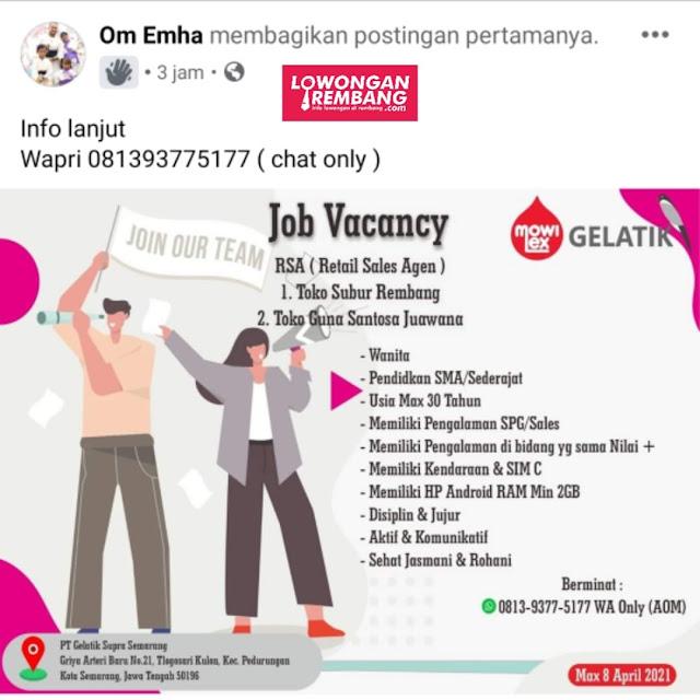 Lowongan Kerja Retail Sales Agen Mowilex Penempatan Toko Subur Rembang