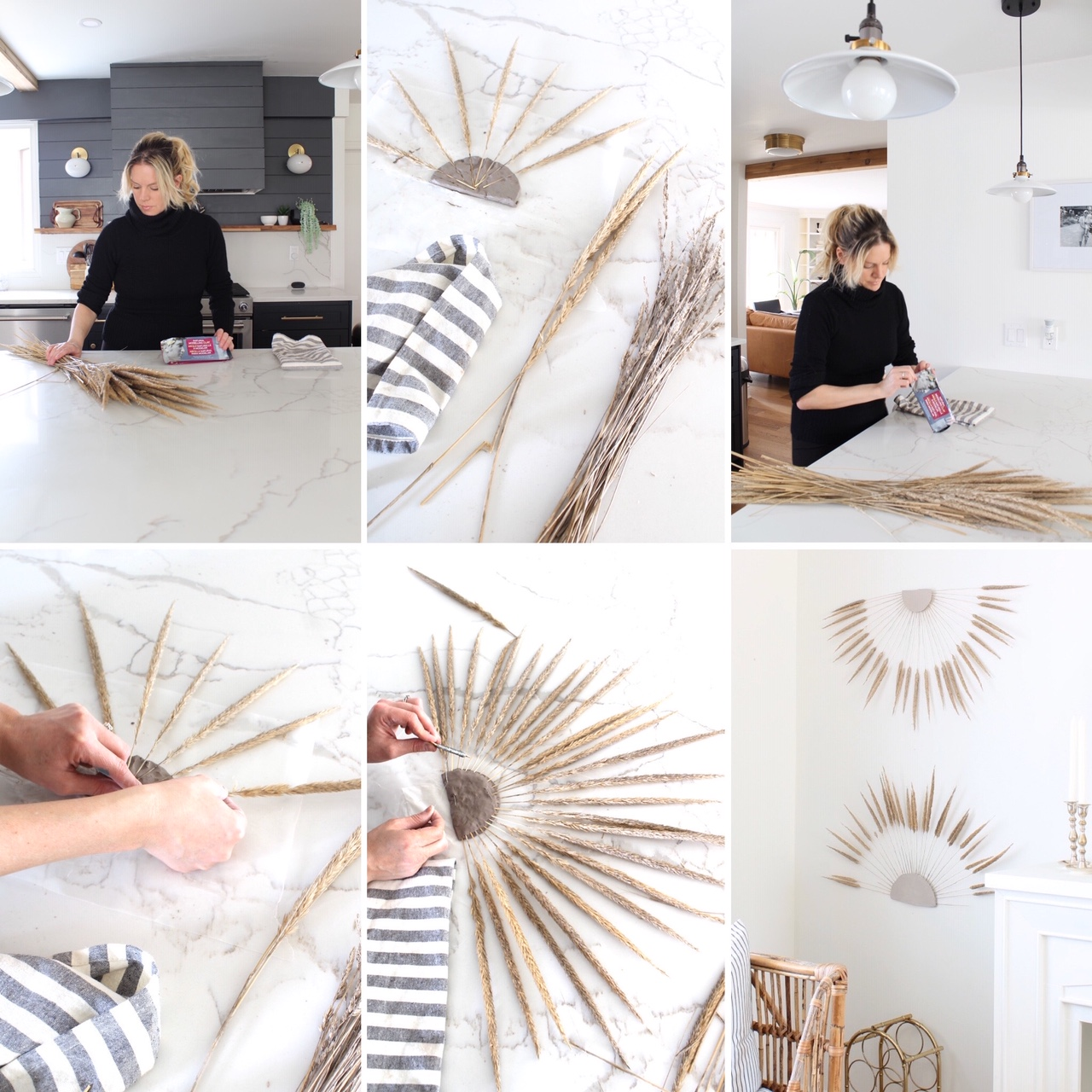 DIY Boho Wall Decor dried grass