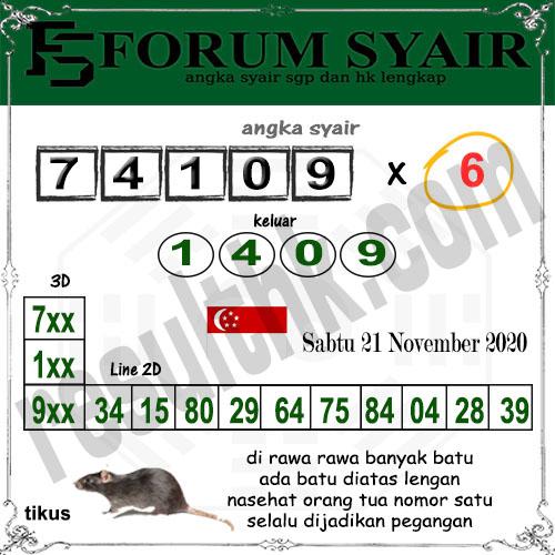 Forum Syair SGP Sabtu 21 November 2020