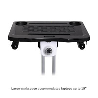 "17.7"" wide x 12.8"" deep desktop accommodates 15"" laptop, on Ivation IVAMFEBWD Folding exercise bike, image"