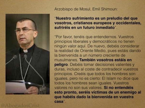 Fotografía del Arzobispo de Mosul, el texto de la foto se puede leer a continuación