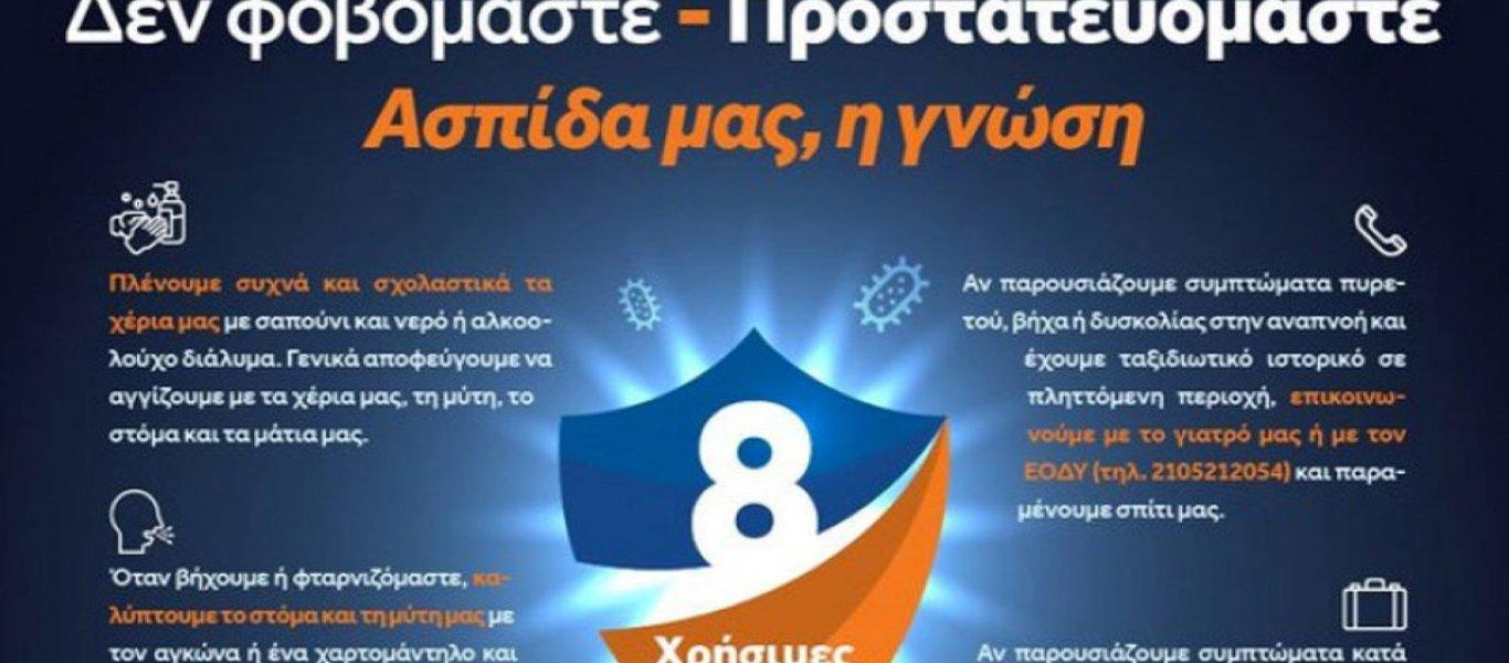 Οδηγίες προστασίας από τον κορωνοϊό - Ανακοίνωση από την ΠΚΜ για την ενημερωτική καμπάνια της Γενικής Γραμματείας Πολιτικής Προστασίας