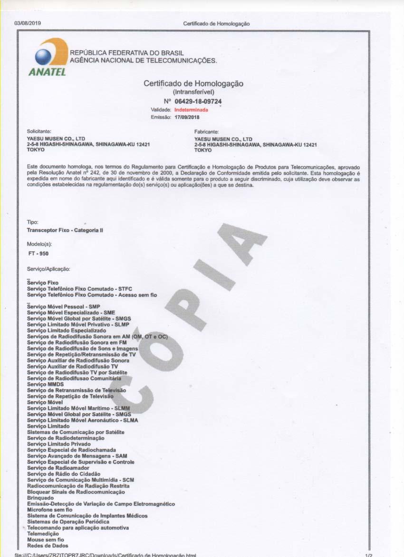 PR7JRC ZEZITO: CERTIFICADO DE AMOLOGAÇÃO YAESU FT-950