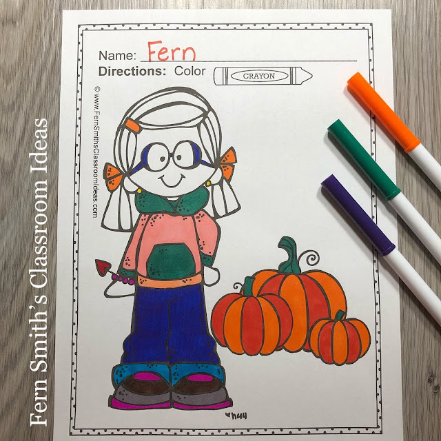 Terrific for a daily coloring page OR have a parent volunteer bind them into a FALL COLORING BOOK for your students. Your students will ADORE these coloring pages because of the cute, cute, cute Fall Themed graphics! Your students can also draw in any Fall background and write about their coloring book page on the back. Use these coloring pages for all sorts of jumping off points for older students to use during their Fall creative writing lessons! Add it to your plans to compliment any Fall Unit! Download these 106 Coloring Book Pages TOTAL for some INSTANT Fall Coloring Joy in your home or classroom!