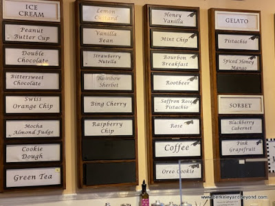 menu of ice cream flavors at Treats in Nevada City, California