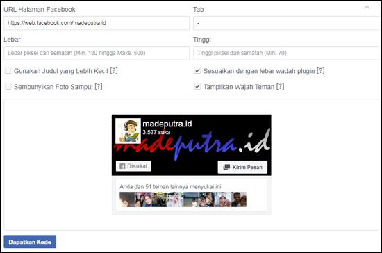 Pengaturan Halaman Fans Page di Blog