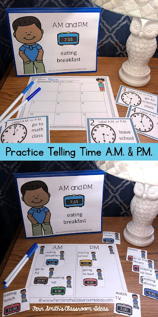 Second Grade Go Math 7.11 A.M. and P.M. Bundle - Practice Telling Time - This bundle has task cards and center games for Second Grade Go Math 7.11 A.M. and P.M. You will love how easy it is to prepare this easy to prep bundle for your math class. Perfect for small groups, read the room, centers, scoot, tutoring, Around the World whole class game, homework, seat work, so many ways to use these task cards that the possibilities are endless. Your students will enjoy reviewing important skills with the center games! Perfect for an assessment grade for the week or for a substitute teacher day! #FernSmithsClassroomIdeas