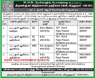 Thiruvalluvar Vidhyasala Middle School Virudhunagar (Govt Aided) BT Assistant Teacher Recruitments 2016