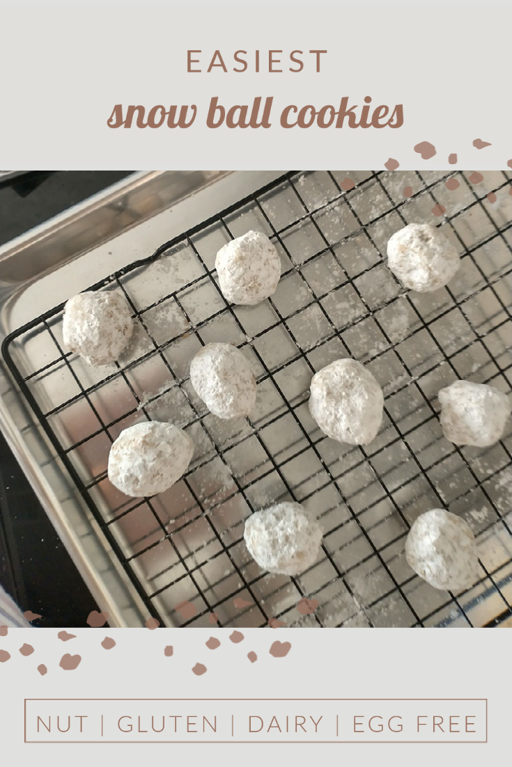 pinning image for Egg Free Snowball Cookies