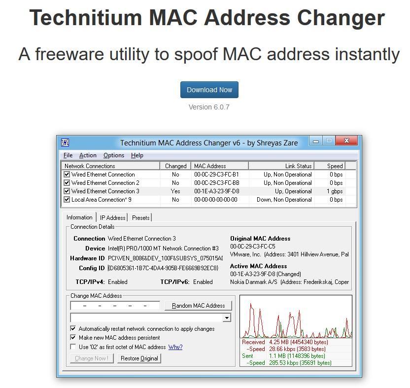 MAC Address Changer by Technitium