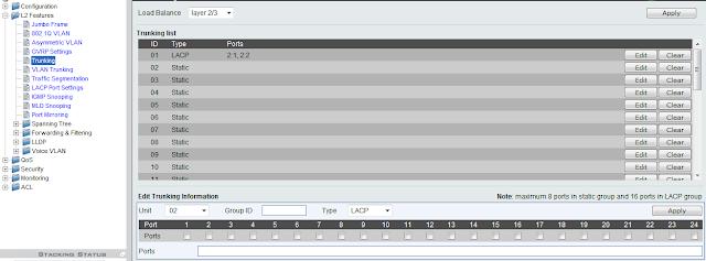 Trunking zdefiniowany w grupie ID 01 zawierający w sobie porty 1 i 2