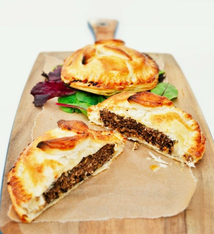 A simple layered puff pastry pie filled with well cooked veggie burgers, cream cheese (veggie or vegan), mustard and herbs. A real family pleaser.