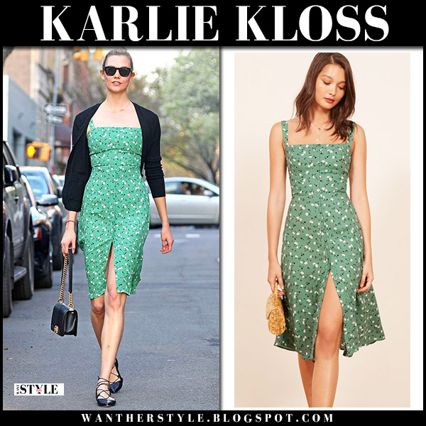 5718a5eeab1 Karlie Kloss in green floral midi dress reformation and black shoes model  spring style may 1