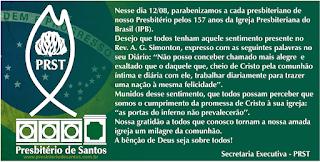 IPB: 157 ANOS - Presbitério de Santos