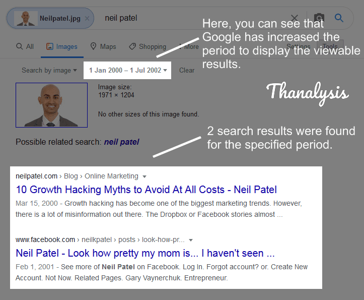 Google Image search results with automatically increased time range factor for filtering the results
