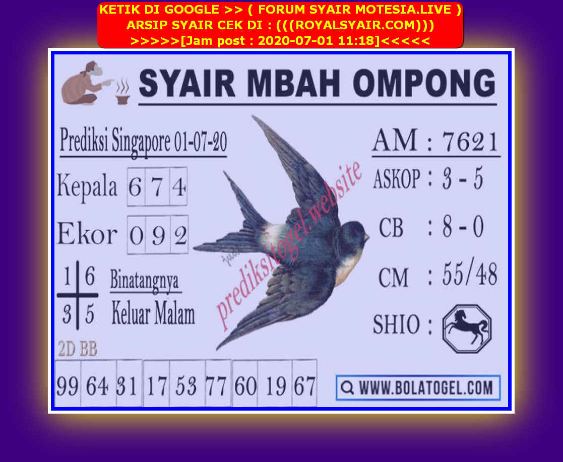 Kode syair Singapore Rabu 1 Juli 2020 129