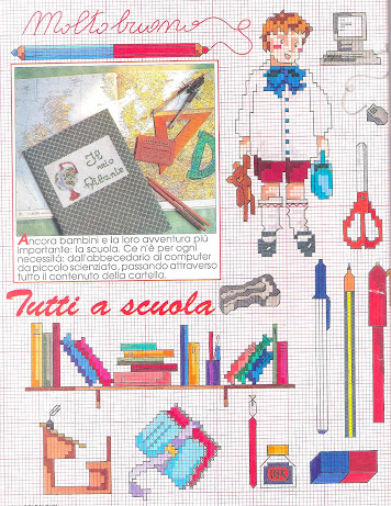schema punto croce scuola+tavolozza dei colori del pittore