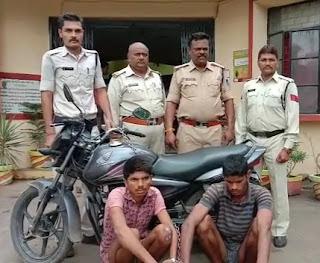 मोटर साइकिल चोर गिरोह के दो आरोपी को बेटमा पुलिस ने किया गिरफ्तार