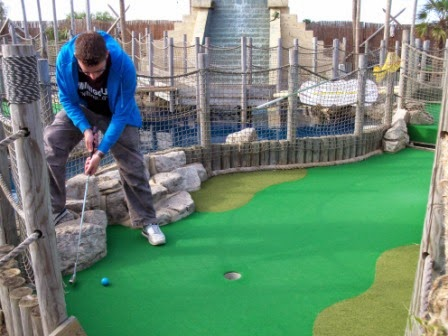 Richard Gottfried playing minigolf at the Lost World Adventure Golf course in Hemsby