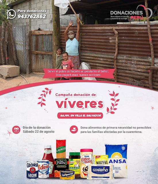 Campaña donación de víveres no perecibles para las familias de los AA.HH en Villa el Salvador